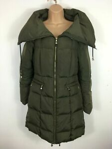 WOMENS-ZARA-GREEN-DOWN-PADDED-ZIP-UP-LONG-FITTED-WINTER-COAT-SIZE-EUR-M-MEDIUM
