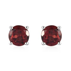 Platinum Over 925 Sterling Silver Red Garnet Solitaire Stud Earrings Ct 1.9