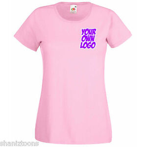Ladies-Womens-Lady-Fit-Light-Baby-Pink-T-Shirt-Personalised-Text-Logo-Design