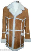 Men's Open Seam Marlboro Sheepskin Coat In Tan W/ White