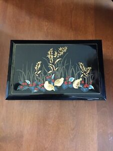 VINTAGE BLACK LACQUER JEWELRY MUSIC BOX w/ MIRROR  THEME FROM LOVE STORY  JAPAN