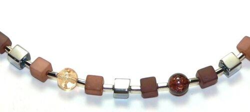 339f Bellos cadena cubo Cube Matt marrón-beige perlas Crash marrón