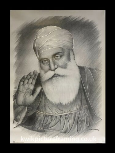 "Guru Nanak Dev Ji Original Photo Picture Framed in Size 16/"" X 12/"" Inches"
