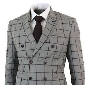 Image is loading Costume-homme-veston-croise-double-beige-carreaux-marron- a980f3eb1c2