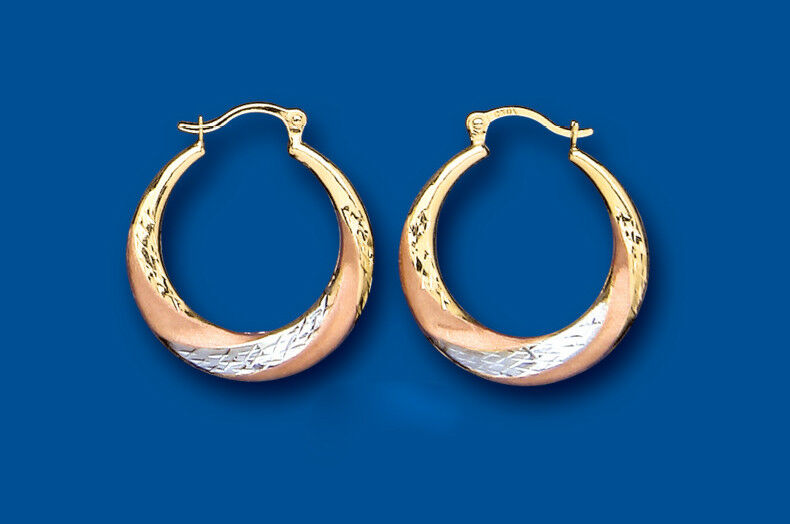 Hoop Earrings gold Creole Three Colour pink White Yellow Multi Tone gold 20mm