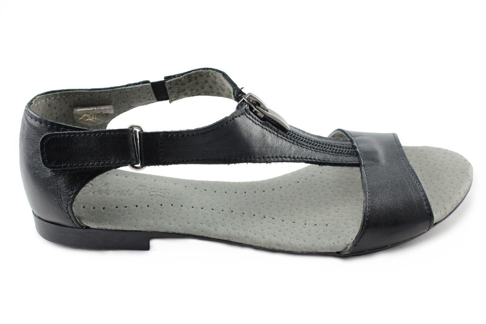 Sandalias para mujer de cuero Kornecki (03755 Czarny) hecho en en en Polonia  autorización