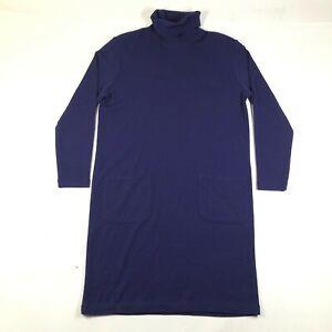 Vintage Jones New York Sweater Dress Jumper Womens M Blue Merino Wool Turtleneck