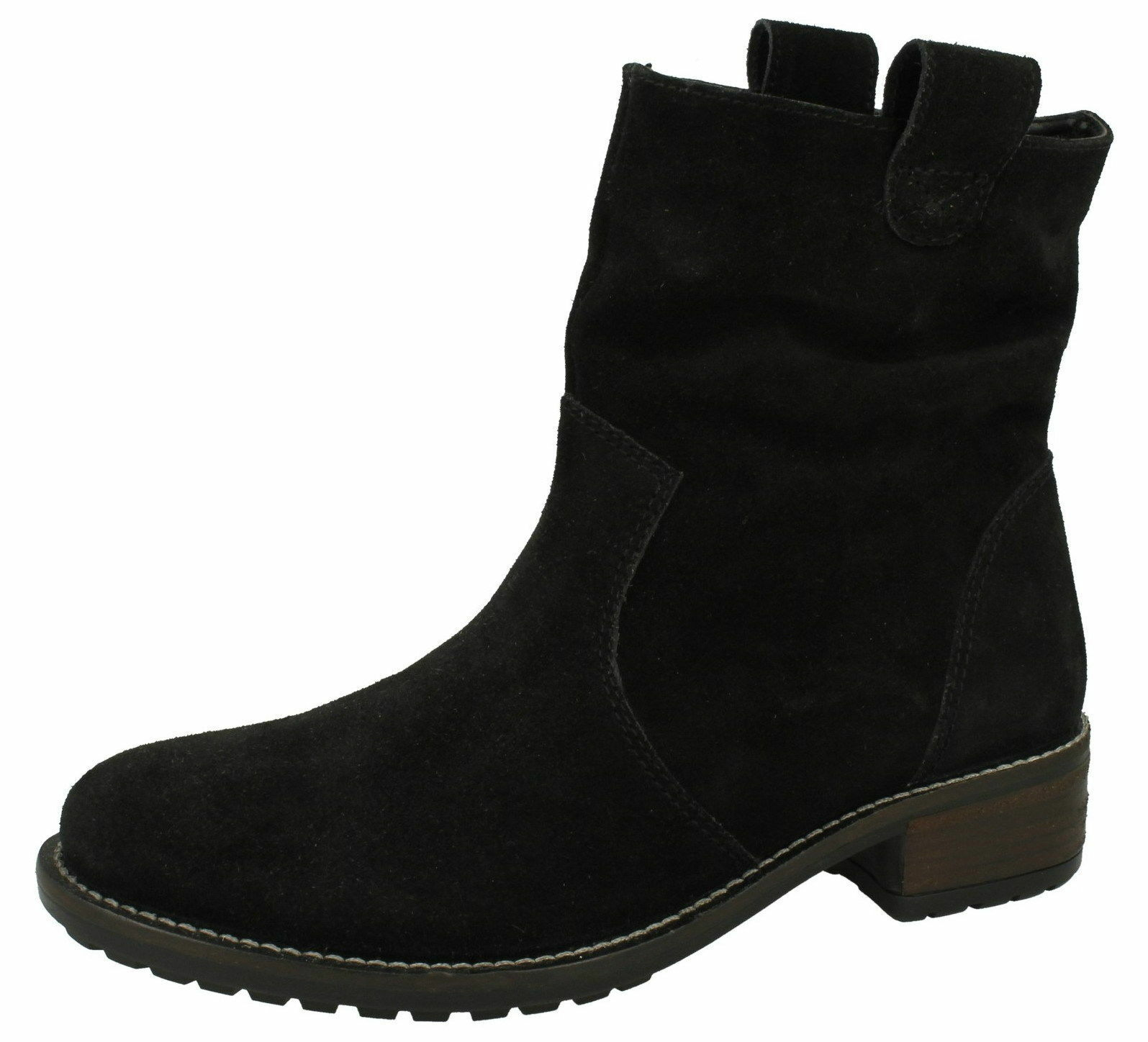 Damen Wildleder 2.5cm 2.5cm 2.5cm Blockabsatz knöchelhohe Stiefel schwarz Stil f50659 f59712