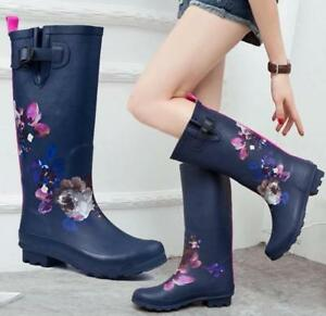 8696f10b7add Details about Womens Classic Knee Mid High Tall Slim Fit Rain Round Toe  Rain Boots Shoes C18