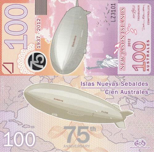 New Jason Islands 100 Australes Hindenburg//Statue of Liberty UNC 2012