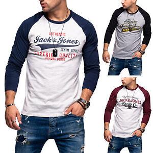 Jack-amp-Jones-Hommes-Chemise-Manches-Longues-Shirt-O-Neck-T-Shirt-Raglanshirt-Logo-Print
