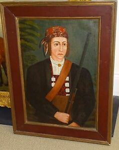 Primitive-School-Portrait-of-Hunter-Oil-Painting-circa-1820-REDUCED-PRICE