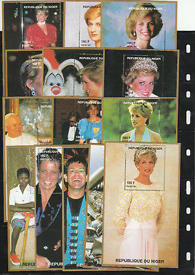 Dynamisch Niger, United Kingdom, Princes Diana, Pope, Elton John, 14x Block Mnh