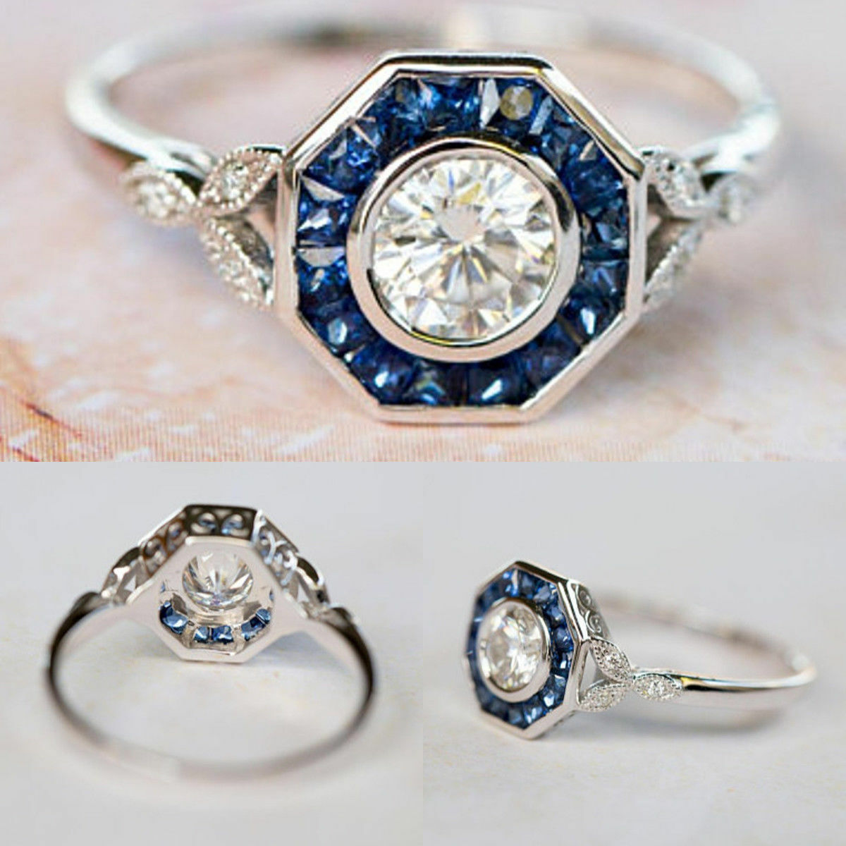 f3dabeab83f0 White Diamond Art Deco Engagement Wedding Ring 14K White gold Over 1.25ct  Style nttird5352-Diamond