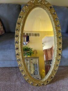 "ANTIQUE BEVELED GLASS Wall Hanging 47"" X 25"" miroir"