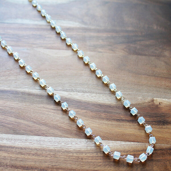Hand-Crafted Delicate White Crystal Long necklace