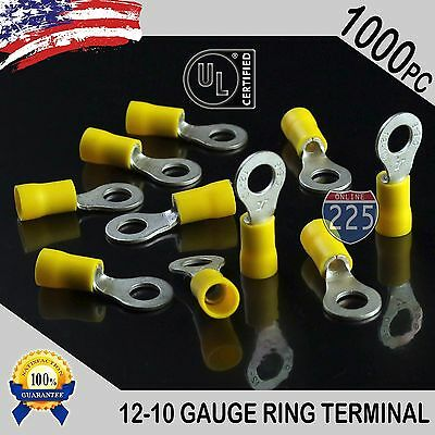 """1000 PACK 12-10 Gauge 3//8/"""" Stud Insulated Vinyl Ring Terminals Tin Copper Core"""