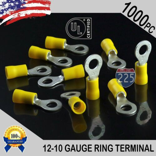 """1000 PACK 12-10 Gauge 1//4/"""" Stud Insulated Vinyl Ring Terminals Tin Copper Core"""