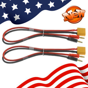 2pcs XT90 Male 4mm Banana Connector Plug Lead Battery Charge Cable 12 AWG RC USA