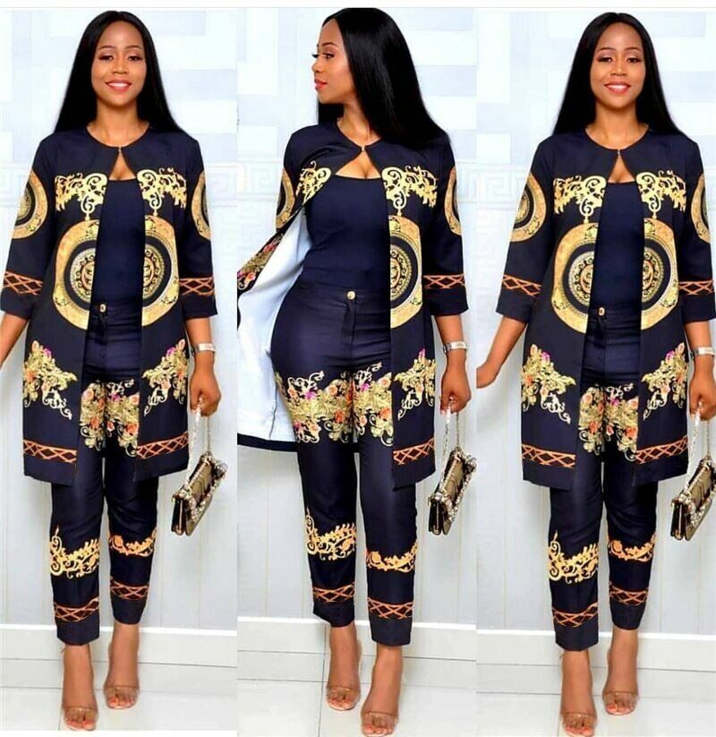 Formal Party African Sets Print Trousers Tops Pants Suits Dashiki Dress