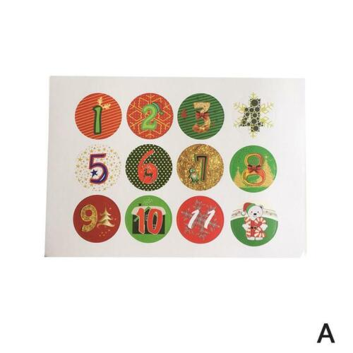 Satz Weihnachtsaufkleber Adventskalenderzahlen 1-24 Schmuck Geschen 10 Blätter