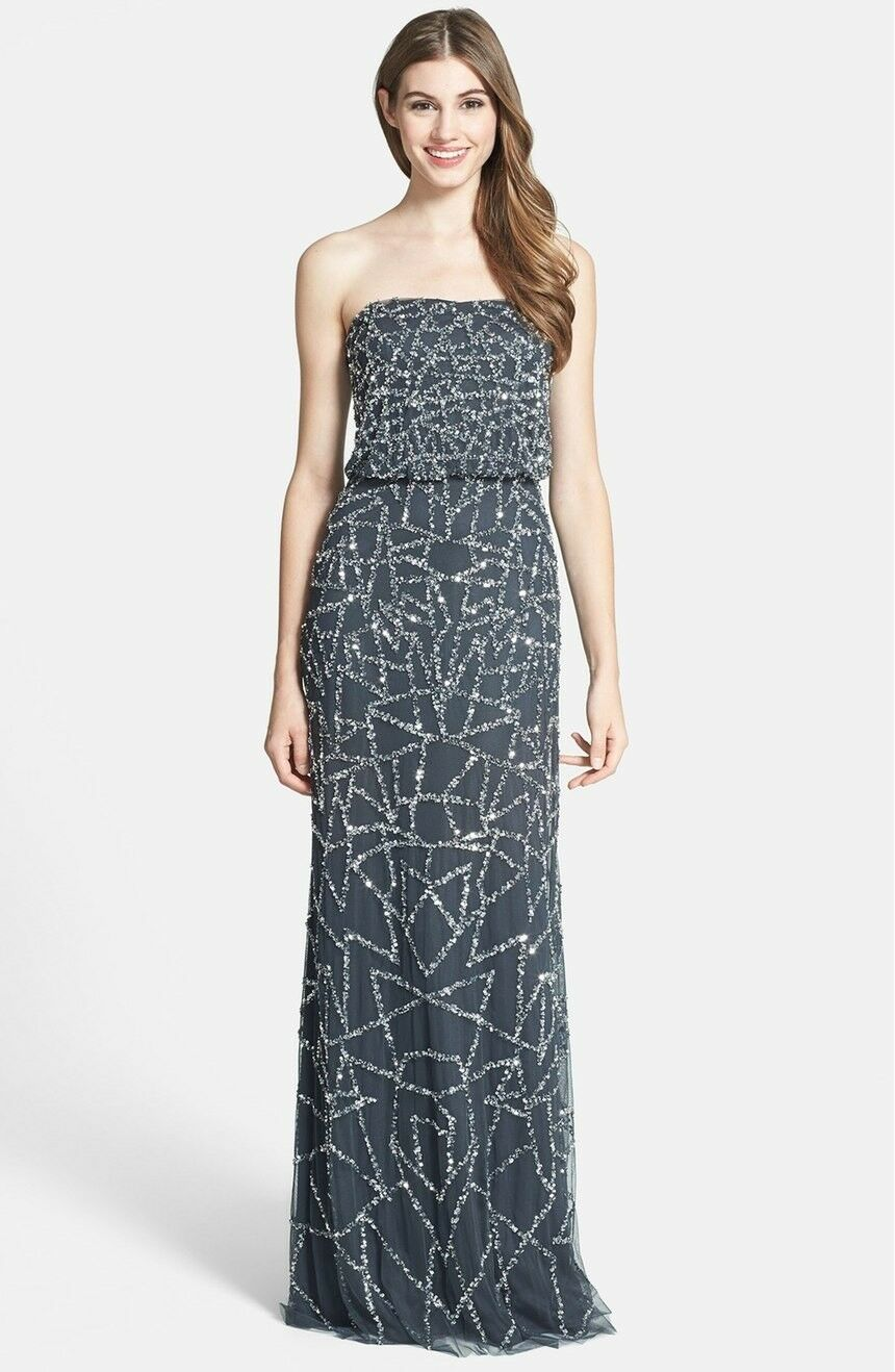 Adrianna Papell Anthracite Argent Embelli bustier Blouson Robe Neuf Avec Étiquettes 12 $348