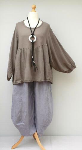 """LAGENLOOK LINEN//COTTON+LACE RELAXED BATWING TUNIC//TOP*TAUPE*BUST UP TO 54/"""""""