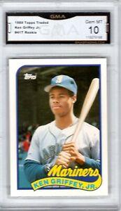 GMA-10-Gem-Mint-KEN-GRIFFEY-JR-1989-Topps-Traded-ROOKIE-Card-HOF-Mariners-Reds