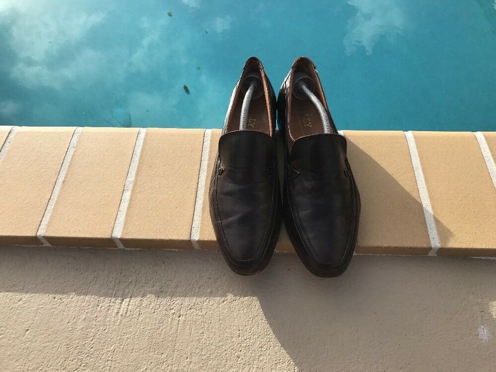 VINTAGE BALLY BROWN LEATHER 11D LOGO DETAIL LOAFERS Sz 11D LEATHER MADE IN SWITZERLAND 0d7063