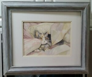 Marianne-Ewen-Southport-NC-signed-cat-watercolor-painting-EC-framed