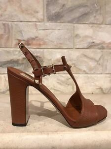NIB-Valentino-Rockstud-Brown-Leather-Stud-Classic-Block-Heel-Sandal-Pump-40-995