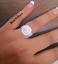 Plata-925-Damas-3-Piezas-Boda-Compromiso-Corte-Redondo-Halo-anillo-nupcial-Set miniatura 4