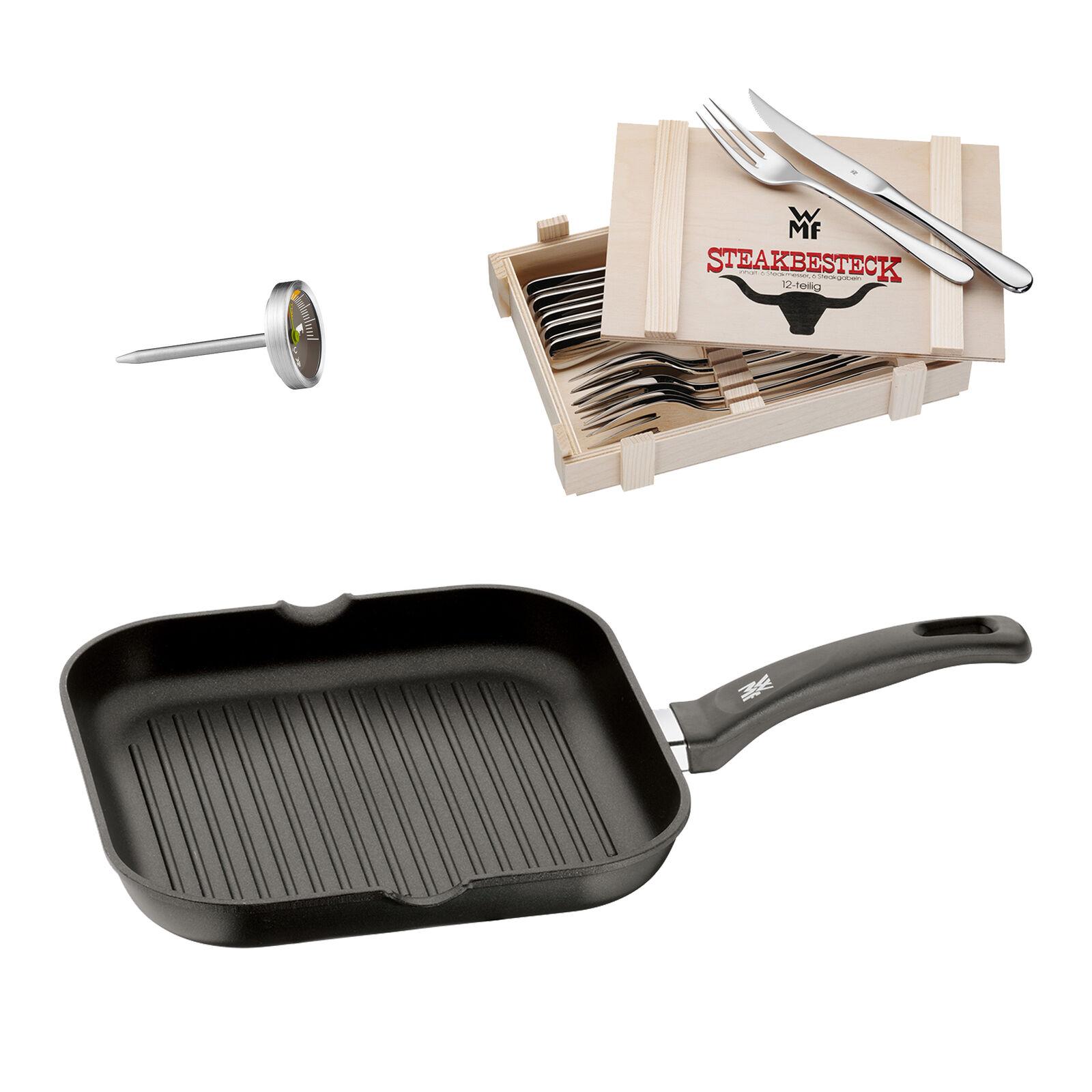 WMF Steak Set 14-tlg; Steak Couverts dans caisse en bois, grill poêle & STEAK Thermomètre