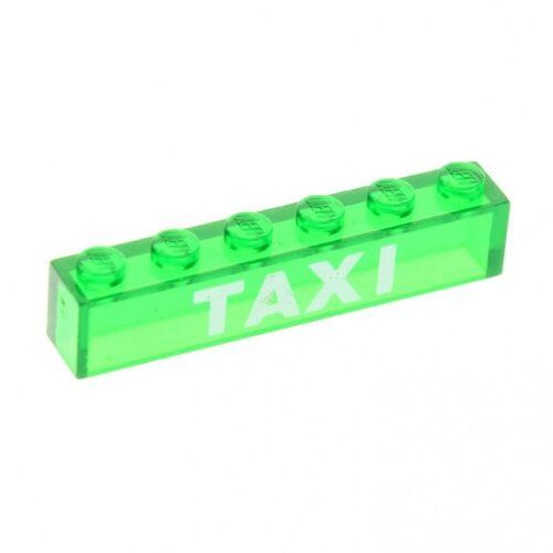 1 x Lego System Glas Stein bedruckt transparent grün weiss 1 x 6 `TAXI ´ City Gl