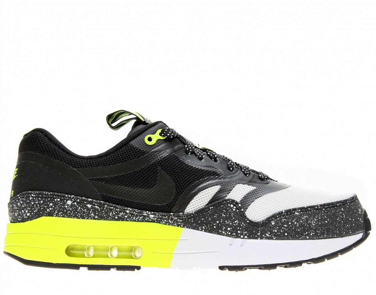 Nike Air Max 1 Premium TAPE  Night Run  Sz 11 599514-100 Black White-Volt