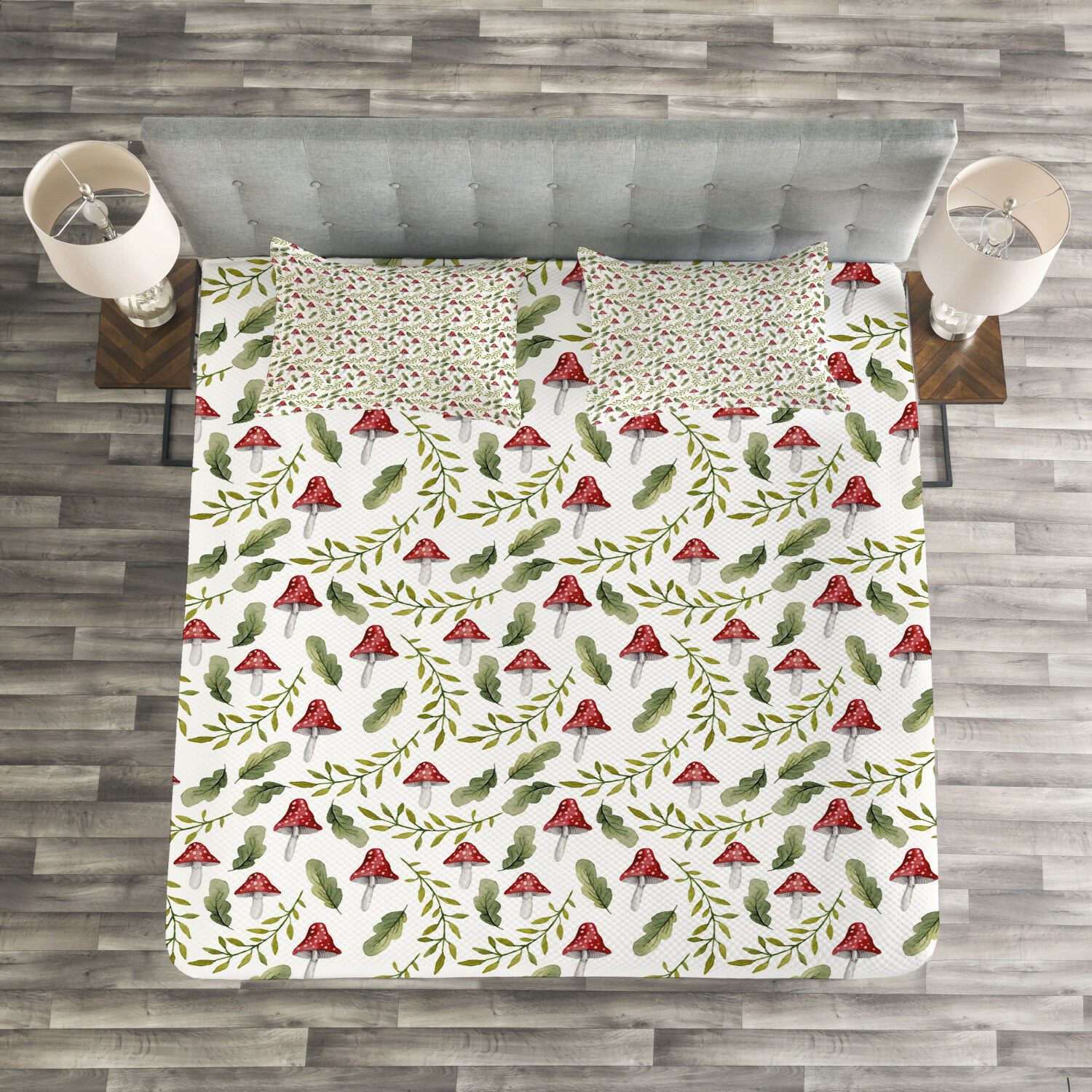 Mushroom Quilted Bedspread & Pillow Shams Set, Leaves Forest Elements Print