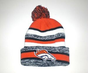 ef60414e210 Denver Broncos Pom Beanie Skull Cap Navy Blue Orange DEN Hat New ...