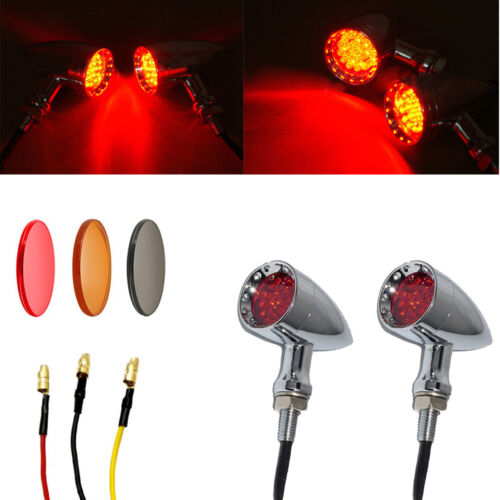 Motorcycle Bullet LED Turn Signal Amber Light Lamps For Harley Chopper