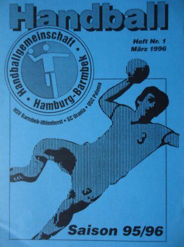 Programm Handball Heft Nr 1 März 1996 HG Hamburg Barmbek
