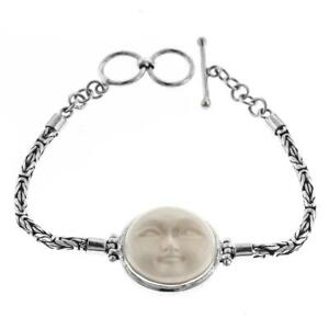 7 Bali Hand Carving Moon Face Bison Bone 925 Sterling Silver Bracelet Ebay