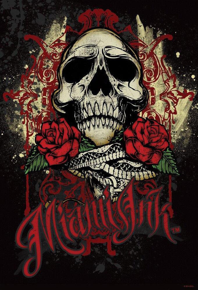 Miami Ink Rose Skull Foto-Tapete 2-teilig Fototapete Wallpaper 232x158cm