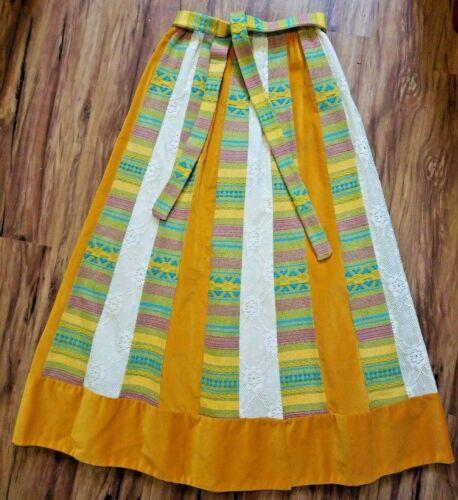 Vintage 60/'s 70/'s Chessa Davis lime green patchwork lace Bohemian Hippie Boho Folk Maxi dress skirt  one size fits many