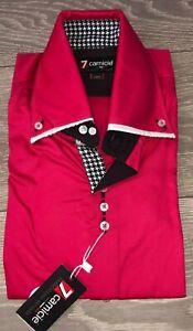 Para-Hombres-Camisa-Rosa-por-7-famosa-top-desgaste-disenador-Tamano-Pequeno-35-034-37-034-Slim-Fit