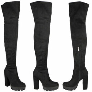 Womens Thigh High Boots Ladies Cleated