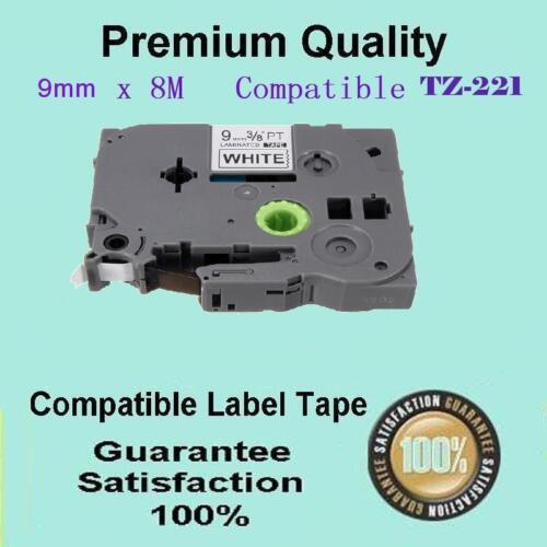5 Laminated Black on White 9mm Tape for Brother TZ221 PT-1280 PT-1290 PT-1230PC