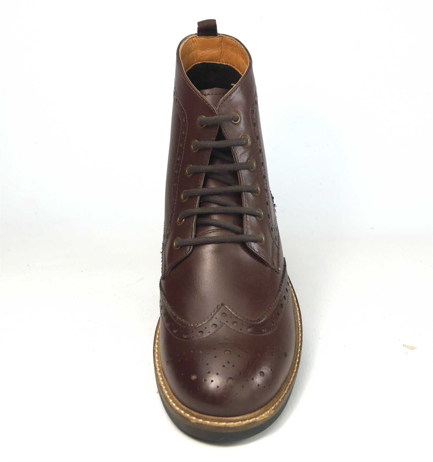 Frank James Hackney Real Boots Leather Lace Up Brogue Boots Real Brown b867f3