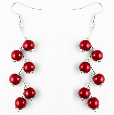 Z0195 Red round Acrylic Beads elegant dangle earrings new arrive