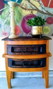 Rustic Farmhouse Side Table Solid Rustic Wood 2 Drawers