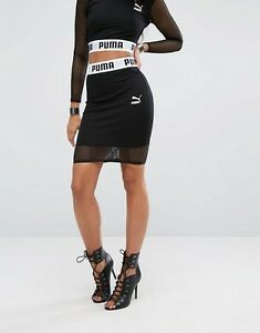 acc43a19bc0 Image is loading Puma-W-Bodycon-Mesh-Panel-Black-Skirt-Size-