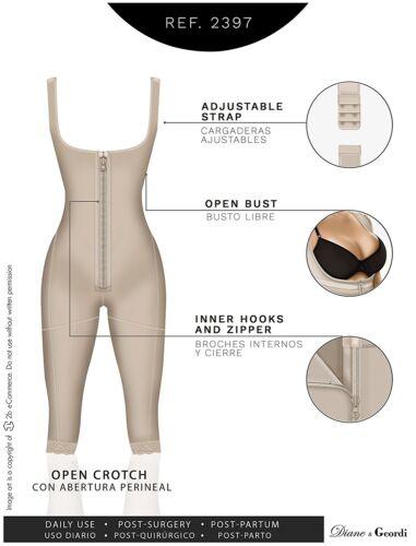 Diane 2397 Long Leg//Faja Capri Post-Lipo Tummy Tuck Post-Partum Wide Strap